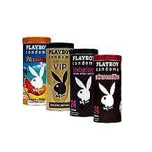 Playboy Condoms All in one 4pack 4 latas con 24 condones c/u