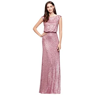 eb3eebab42c Amazon.com  David s Bridal Long All-Over Sequined Blouson Bridesmaid ...