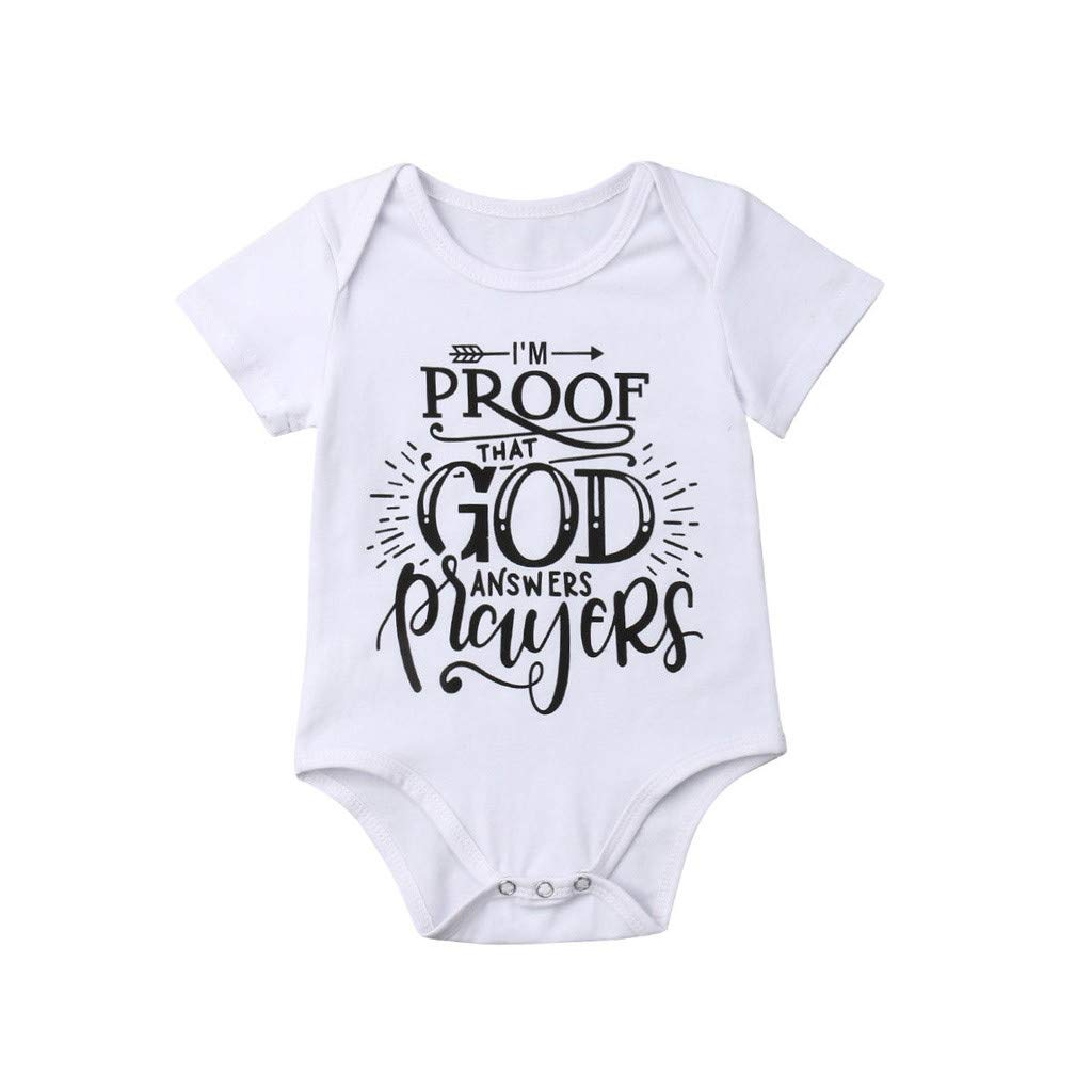 WUAI Newborn Infant Baby Boys Clothes Letter Printed Short Sleeve Romper Bodysuit Clothes Outfits(White,18-24 Months)