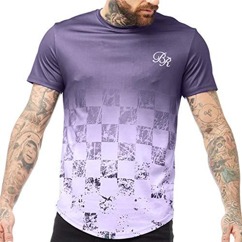 JJLIKER Men's Gradient Graphic Printed Short Sleeve T-Shirt Casual Fashion Tees Sport Training Athletic Tops Purple
