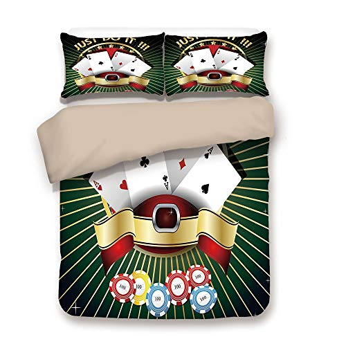 iPrint Duvet Cover Set,Back of Khaki,Poker Tournament Decorations,Just Do It Old Fashioned Composition Luck Passion Wager Win,Multicolor,Decorative 3 Pcs Bedding Set by 2 Pillow - Set Poker Dead Walking