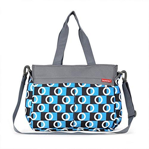 Moda Multifuncional Conjuntos Totalizador de Momia Bolsa de Cambiar Pañal del Bebé Bolso del Pañal Bolsa de Hombro Azul