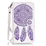 GADGETFARMER Samsung Galaxy S6 PU Leather Case With Built-in Credit Card Slots Magnetic Design Holders Flip Stand Folio Leather Case Cover (White Purple Dreamcatcher)