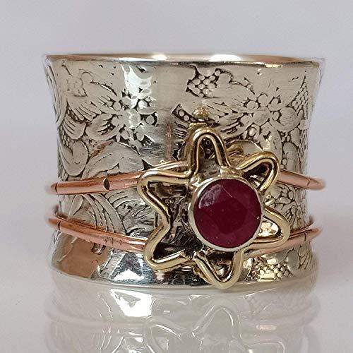 Ruby Spinner Ring* Meditation Ring* Flower Design*Birthstone Silver Ring*Ruby Gemstone Ring*Spinning Ring*Anxiety Ring*Valentine Gift Ring* Pre-engagement Ring