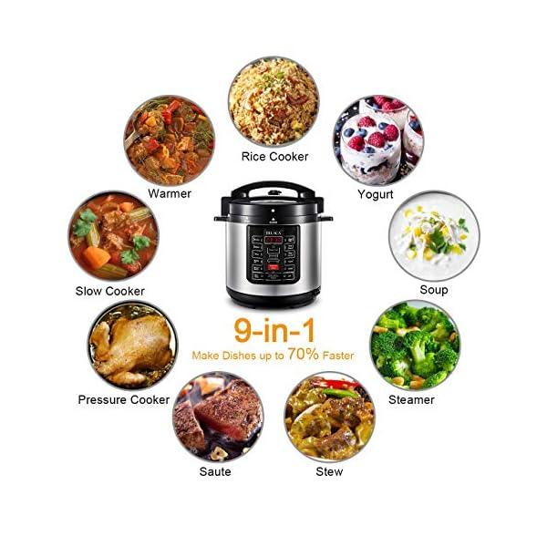 Electric Pressure Cooker,BILACA 6 Qt 9-in-1 Multi Programmable Pressure Cooker,Slow Cooker,Rice Cooker,Steamer,Yogurt… 5