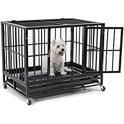 """Fur Family 36"""" Heavy Duty Dog Pet Crate Cage Kennel with Wheels, Removable Tray/Pan, Black"""