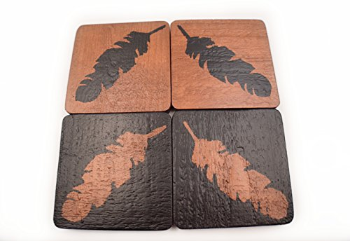 Handmade Feather Wood Coasters - Set of 4 - Copper and Black - Alternative Home Decor