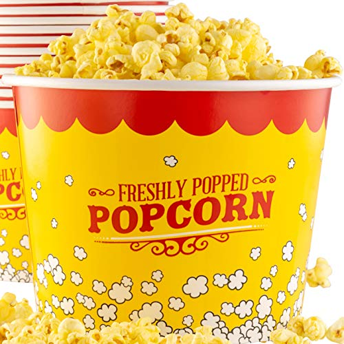 (Premium Leak-Free 85 Oz Disposable Popcorn Tub By Avant Grub. Stackable Buckets With Fun Design. Great For Concession Stands, Carnivals, Fundraisers, School Events, Or Family Movie Nights. (25))