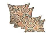Set of 4 Indoor / Outdoor Pillows - 17 Square Throw Pillows & Rectangle / Lumbar Decorative Throw Pillows - Wheel Poppy - Orange, Brown, Ivory, Grey Large Sundial by Resort Spa Home