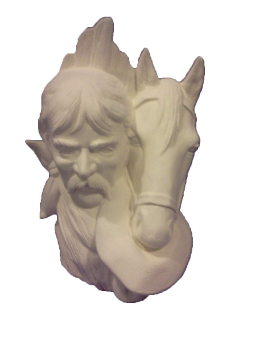 Cowboy With Horse Bust 9 1/2'' Ceramic Bisque Ready To Paint