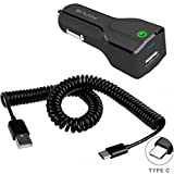 24W USB Adaptive Fast Car Charger Coiled Type-C Cable DC Power Adapter Quick Charge USB-C Data Wire Compact for Motorola Moto X4 - OnePlus 5T - Razer Phone
