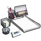All-in-1 Deluxe Black Metal Mesh Desktop Office Supply Holder Storage Organizer Trays - 6 Piece Combo Set