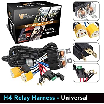 partsam h4 9003 headlight relay wiring harness kit high low beam heat  ceramic socket plugs compatible with toyota pickup tacoma 7x6 5x7 h6054  headlights fix