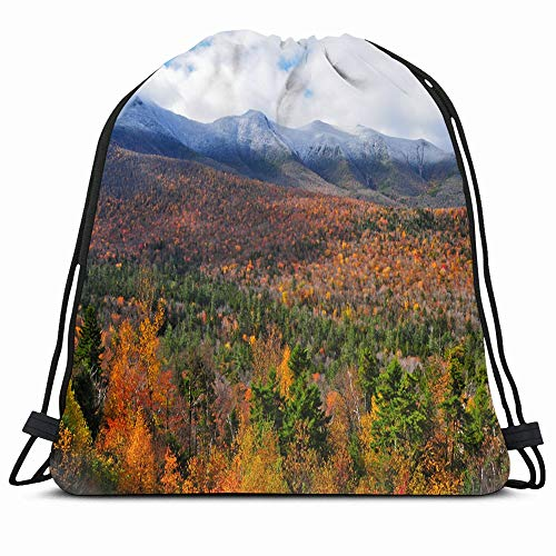 Ahawoso Drawstring Backpack String Bag Mountains Orange England White New Hampshire Usa Fall Nature Parks Red Forest Autumn Panorama Sport Gym Sack Hiking Yoga Travel Beach (New Hampshire Fall Colors Best Time)