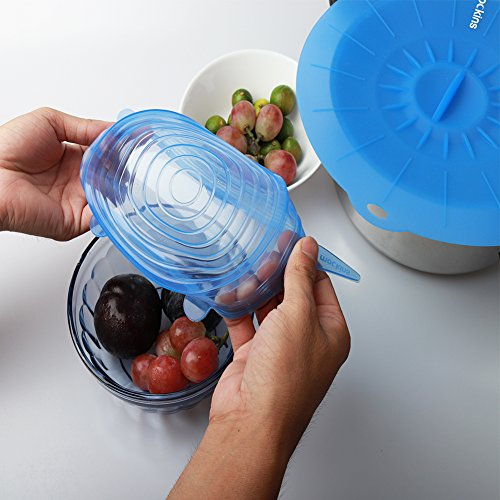 mockins 12 Pack Silicone Covers | 5 Silicone Stretch Lids & 7 Suction Lids | The Reusable Silicone Huggers are Expandable To Fit Various Unique Shapes & Sizes To Keep Your Food Fresh & Tasty - Blue by Mockins (Image #2)'
