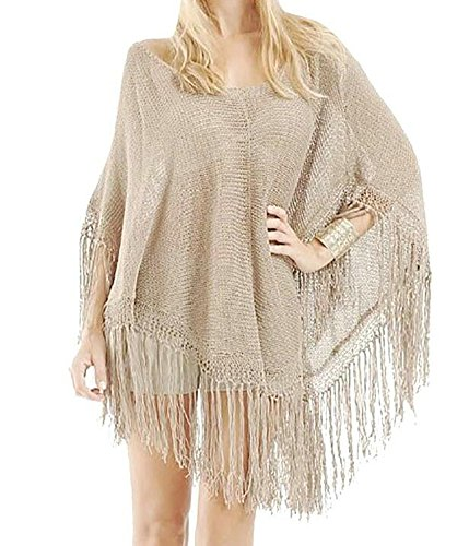 Obosoyo Beachwear Shawl Poncho Style Women's Knitting Bikini Smock Hot Sale Beige