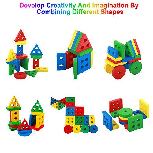 Steckplatte Holz, 16-teilig, Steckpuzzle Holz ab 1 Jahre mit 4 geometrischen Formen, Sortier-und Stapelspielzeug für Kinder 1 2 3 Jahre, bestes Holz Montessorie Lernspielzeug für Jungen Mädchen