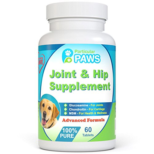 Glucosamine for Dogs Advanced Joint & Hip Supplement with MSM, Chondroitin, Vitamin C & E, Hyaluronic Acid, Omega 3 & Omega 6 - 60 Chewable Tablets