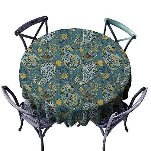ScottDecor Printed Round Tablecloth Jacquard Tablecloth Paisley,Antique Curly Floral Motifs Old Fashioned Baroque Blossoms Oriental Cultural Design, Multicolor Diameter 70