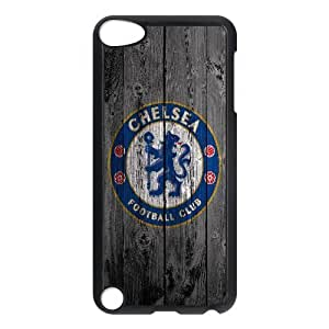 Yearinspace Chelsea Fc Ipod Touch 5 Case Chelsea Fc Print on Wood Texture For Girls Protective, Ipod Touch 5 Cases For Teen Girls, {Black}