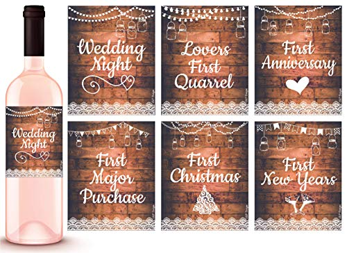 L & P Designs 6 Rustic Wedding Milestones Gift Wine Bottle Labels or Sticker Covers, Bridal Shower, Firsts for The Newlywed Couple Basket Ideas, Bachelorette Engagement Party Present Unique Gifts