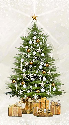 white christmaschristmas tree panel with twinkle lights by northcott