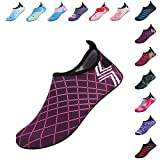 FANTINY Mutifunctional Barefoot Shoes Men Women and Kids Quick-Dry Water Shoes Lightweight Aqua Socks For Beach Pool Surf Yoga Exercise,HT02,Dark Pink01,38.39