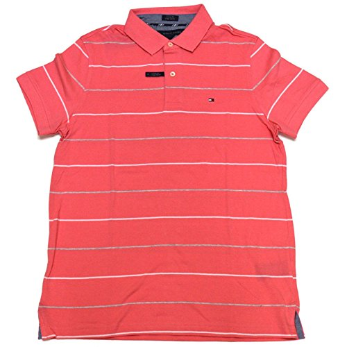 Tommy Hilfiger Mens Striped Custom Fit Polo Shirt (Pink, ...