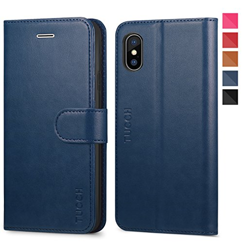 iPhone Xs Case, iPhone Xs Wallet Case, TUCCH PU Leather Flip Book Case [RFID Blocking][Wireless Charging] Credit Card Slots, [Auto Wake/Sleep] Compatible with iPhone Xs(5.8 inch) - Blue