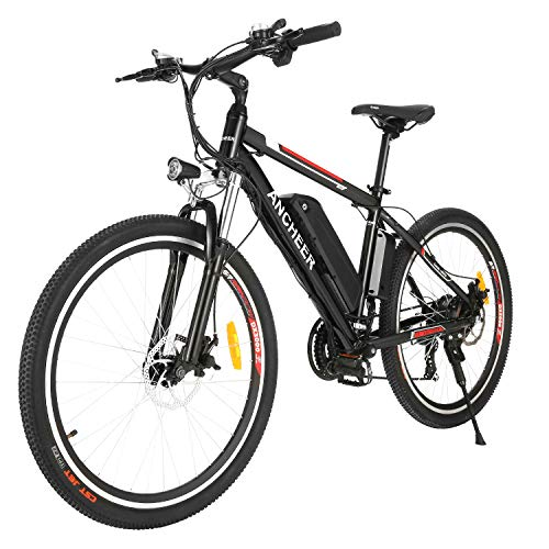 ANCHEER 2019 Upgraded Electric Mountain Bike, 250W/500W 26'' Electric Bicycle with Removable 36V 8AH/12 AH Lithium-Ion Battery for Adults, 21 Speed Shifter (Upgrated_Black)