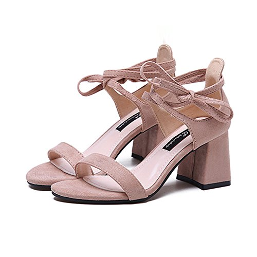 Sandalias Verano Punta Abierta Zapatos de Tacó Correa de Tobillo Elegantes y Acogedor Sandalias de Gruesos Cruz de Correa del Tobillo Rosado