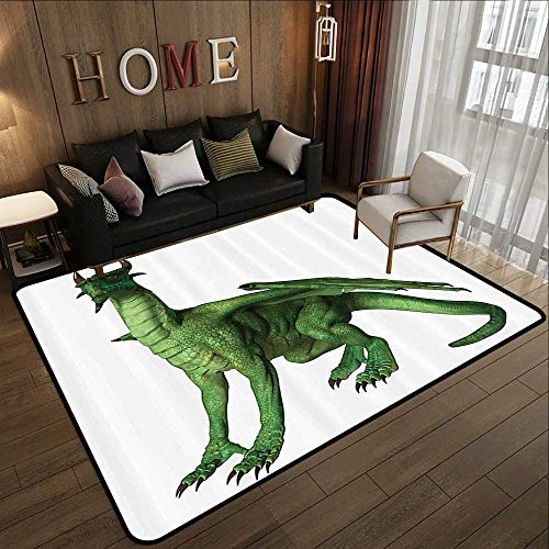 """Rugs for Sale,Kids Decor,Ugly but Cute Dragon Standing and Looking Miniature Dino Like Image Print,Green and White 71""""x 81.5"""" Kitchen Mat"""