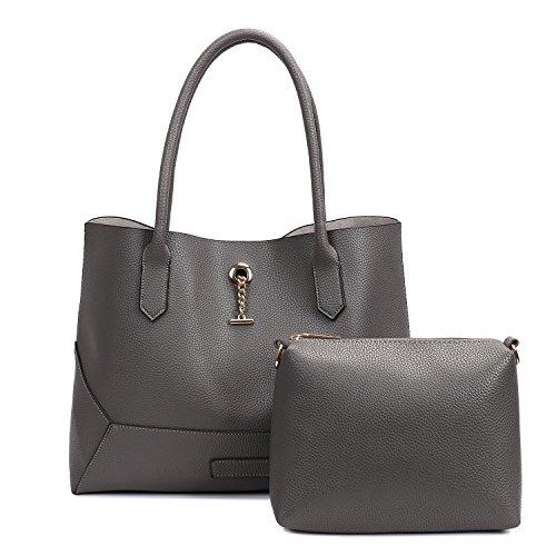 SIFINI - Bolso estilo cartera de Piel Sintética para mujer gris