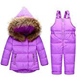 JELEUON Baby Girls Boys Two Piece Puffer Down Winter Warm Snowsuit Jacket with Snow Ski Bib Pants 1-2 Years