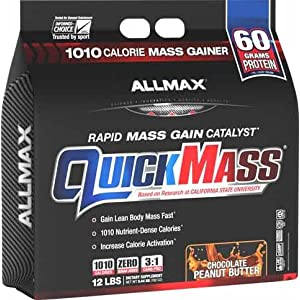 ALLMAX Nutrition QuickMass Loaded Mass Gainer, Peanut Butter Chocolate, 12 lbs