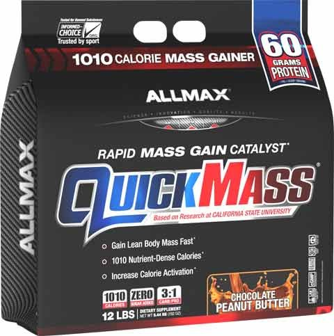 ALLMAX QUICKMASS LOADED, Rapid Mass Gain Catalyst Powder, Zero Trans Fat, Peanut Butter Chocolate Flavor, Dietary Supplement, 12 Pound
