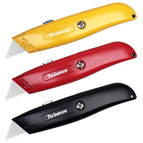 Utility Black Knife - TWINRUN Retractable Utility Knife Box Cutter with Durable Metal Handle Smooth Multi-Position Blade Locking Saddle, 3-Pack Set in Yellow, Red and Black