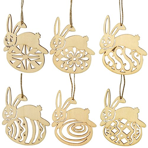 OULII 6pcs Unpainted Wooden Easter Eggs Bunny Ornaments Unfinished Wood Cutouts Wood Slices with Holes and Twine