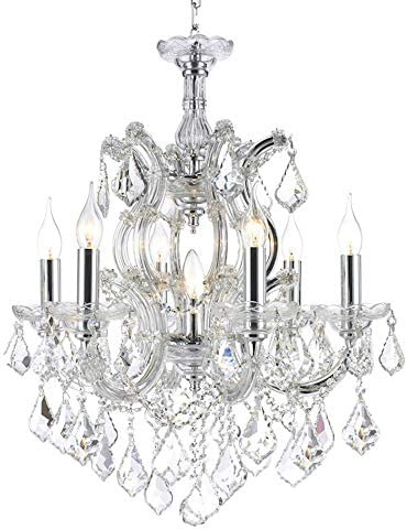 Worldwide Lighting Maria Theresa Collection 7 Light Chrome Finish Crystal Chandelier 22 D x 25 H Medium