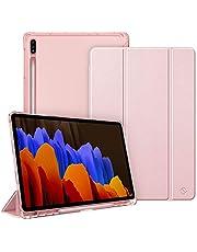 FINTIE Etui do Samsung Galaxy Tab S7 Plus S7+ 12,4'' 2020 SM-T970/T976/T975 z uchwytem na długopis S, lekka smukła powłoka z półprzezroczystym matowym stojącym tyłem, automatyczne budzenie/uśpienie, różowe złoto