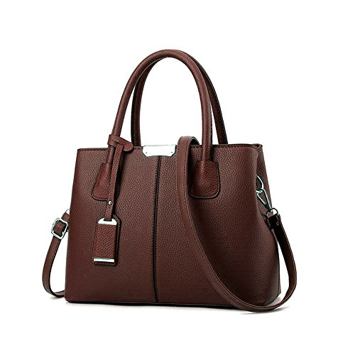 B&E Life Stylish Women Pu Leather Vertical Utility Top Handle Handbag Satchel Tote Purse Bag (Coffee)