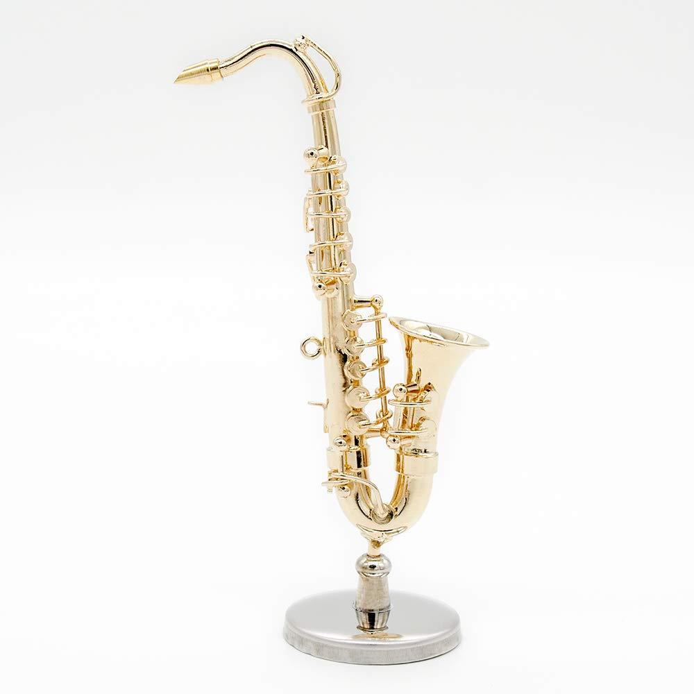 Miniatura Saxofón Dorado con Caso y Stand
