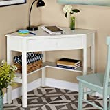 Space-Saving Wooden Corner Writing Desk, Suitable for Home or Office with small spaces, Classic and Antique Design, Best for Computer/Laptop use, Available in Multiple Finishes Antique White
