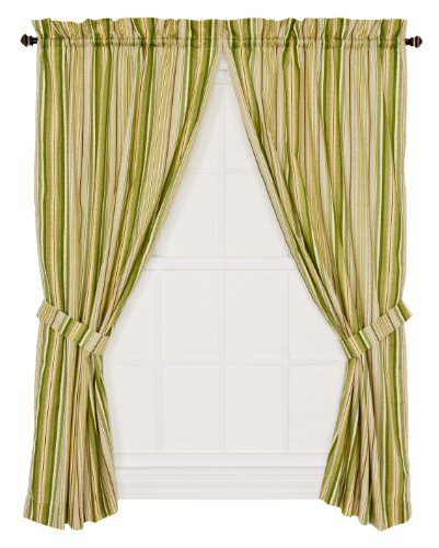 Ellis Curtain Kensington Stripe 68-By-63 Inch Tailored Panel Pair Curtains with Tiebacks, Green Stripe ()
