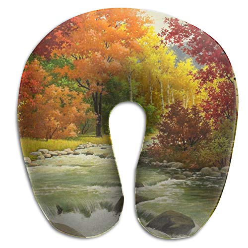 Andromeda Fall Park 3D U Shaped Neck Pillow Memory Foam Pillow for Sleeping Car Train Plane Camping Traveling Reading