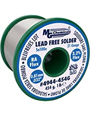 """MG Chemicals Sn100e, 99.5% Tin, 0.5% Copper, Trace of Cobalt, Lead Free Solder, RA Flux, 0.81mm.032"""" Dia."""