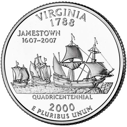 2000 S Silver Proof Virginia State Quarter Choice Uncirculated US Mint