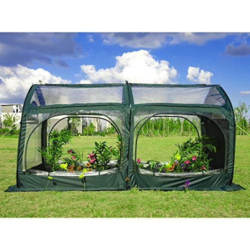 porayhut UPF 50+ Pop up Greenhouse,Cold-Treated Clear PVC and Durable 600D Oxford Flower House for Plants,Outdoor Portable Greenhouses with 4 Zipper Doors Backyard Warm House
