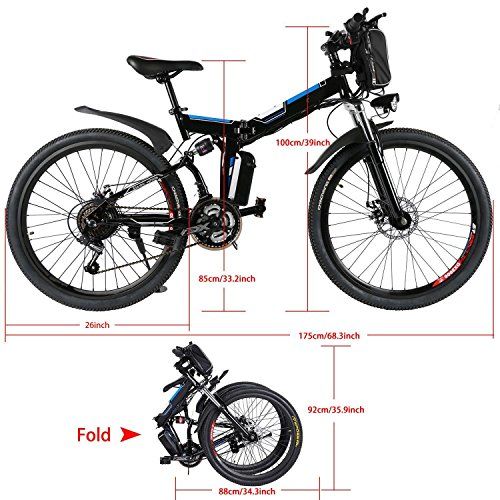 Electric Mountain Bike, Folding Hybrid Bicycles with E-bikes Mode & Pedal Assisted Mode, Large Capacity Lithium-Ion Battery, 26-Inch Wheel (US STOCK) (Black)