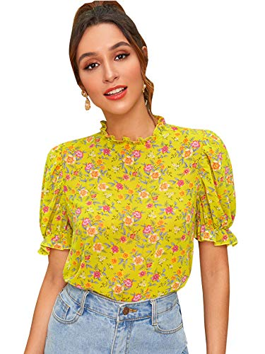 Romwe Women's Floral Print Ruffle Puff Short Sleeve Casual Blouse Tops Yellow #1 ()